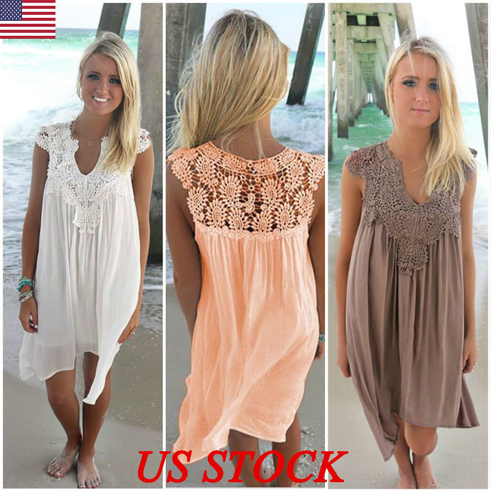 aeab847e7c590 US Plus Size Lady Boho Sleeveless Party Tops Women Loose Summer Beach Lace  Dress