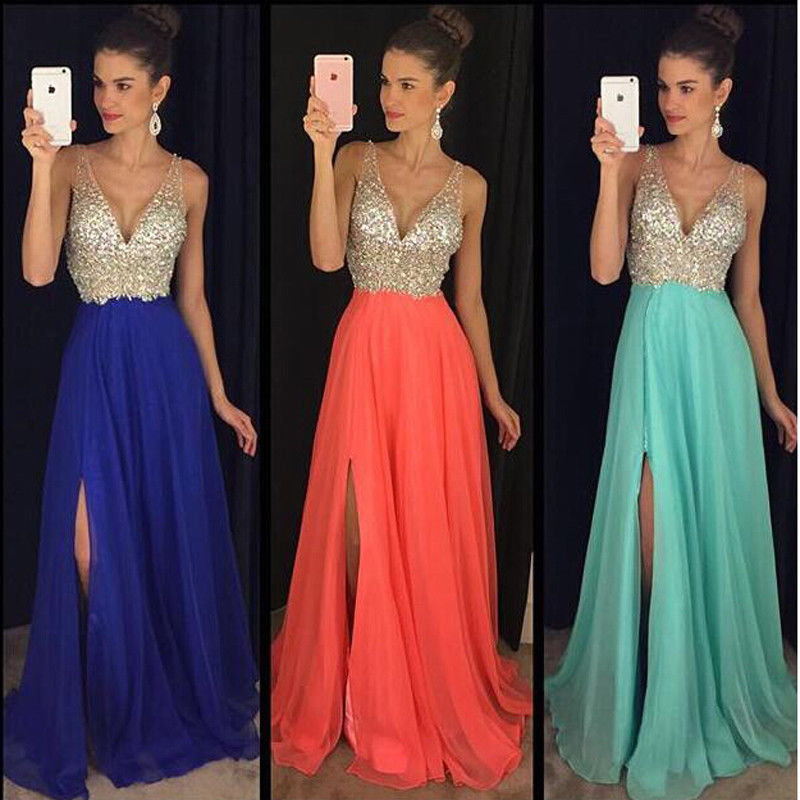 3ecce370 US STOCK Wedding Bridesmaid Long Evening Party Ball Prom Gown Cocktail  Dress Women's Clothing