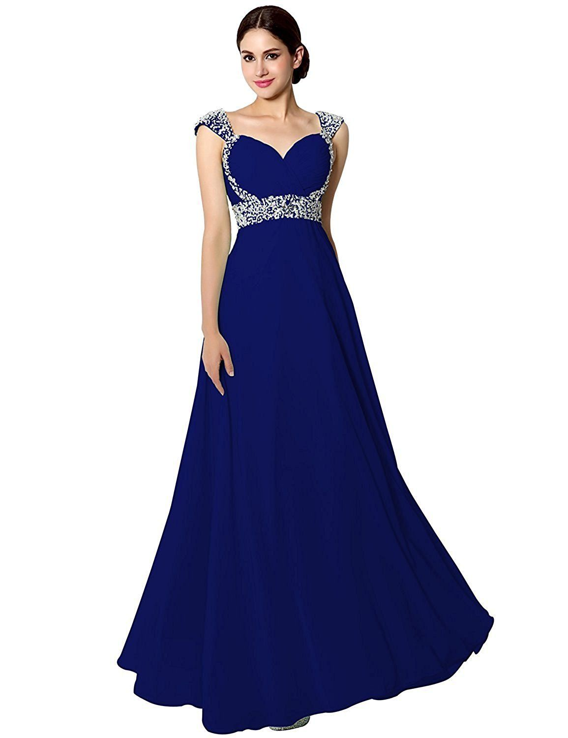 US Shipping Women s Long Chiffon A-line Beading Bridesmaid Dresses Prom  Gowns 593734f430