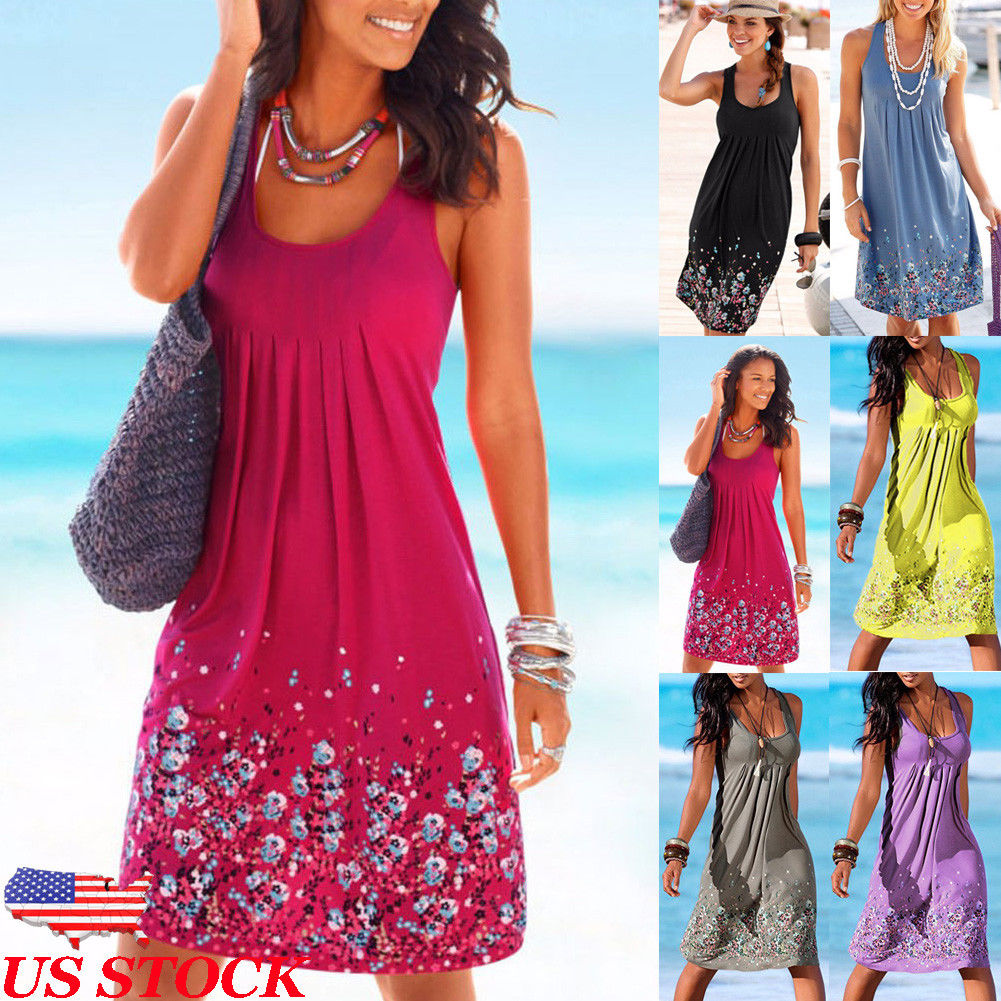 37431fd21cc4 US Women s Summer Boho Short Midi Dress Cocktail Evening Party Beach  Sundress
