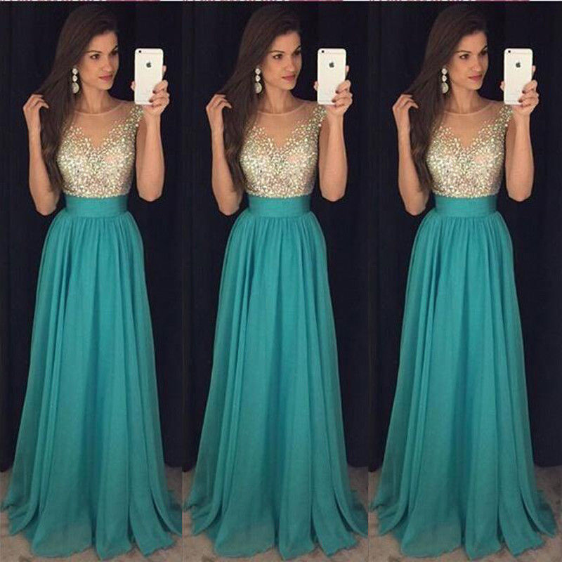 f3c43a5c06eb USA Women Formal Wedding Bridesmaid Long Evening Party Prom Gown Cocktail  Dress