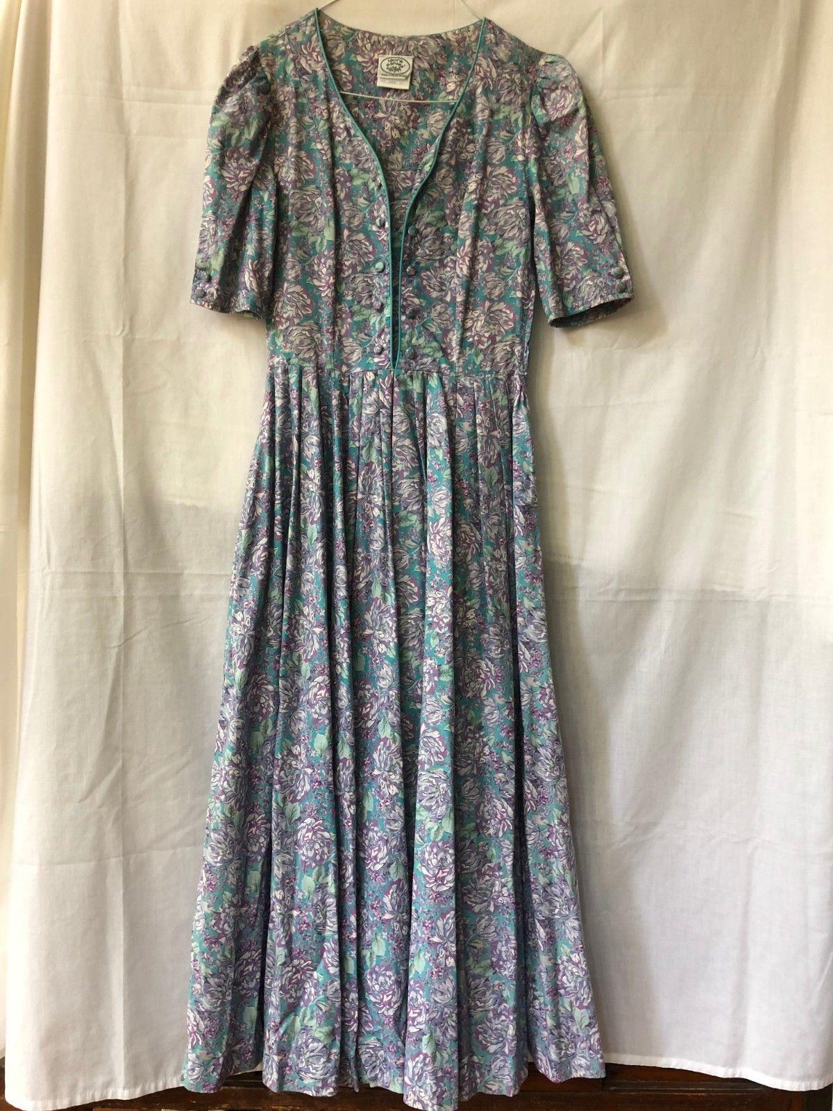 9932f7435d6 Cool Vintage Laura Ashley Cotton Floral Tea Dress USA 6 2018 2019 ...