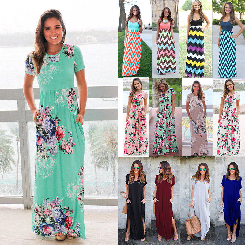 c14625fb2264 Women Boho Floral Long Maxi Dress Cocktail Party Evening Summer Beach  Sundress
