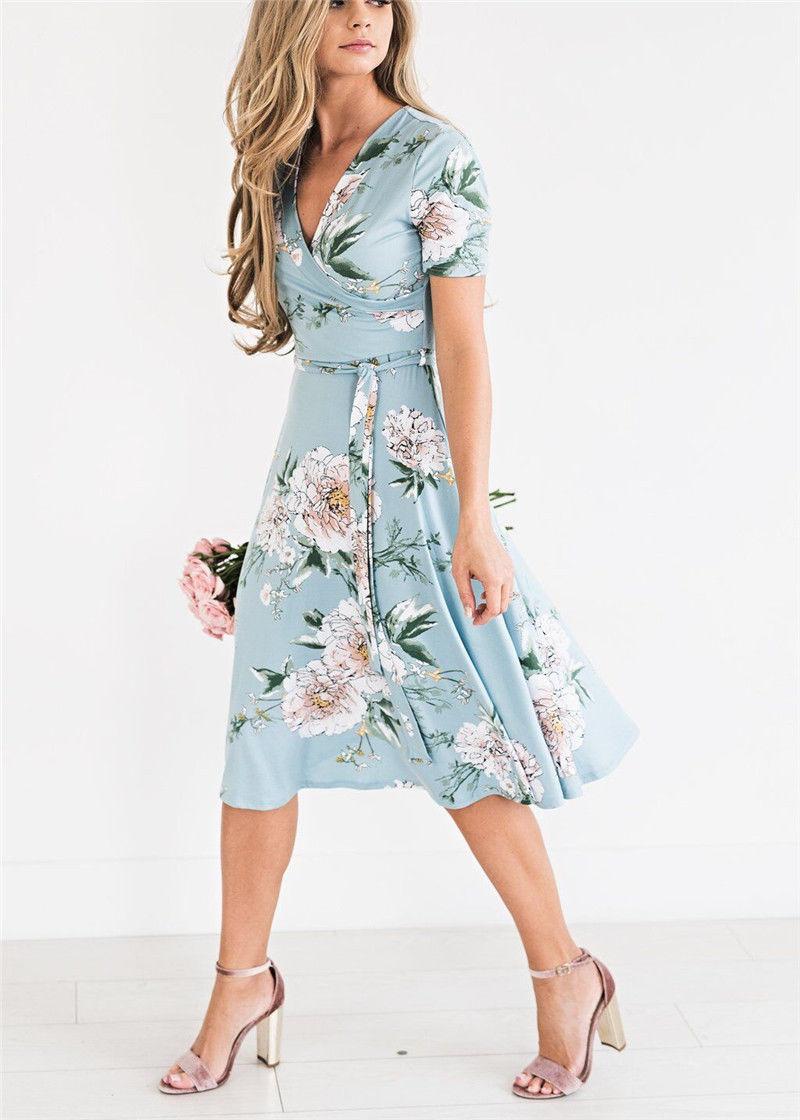 acb665d962 Women Floral Print Short Sleeve Dress Ladies Boho Long Maxi Summer Evening  Party