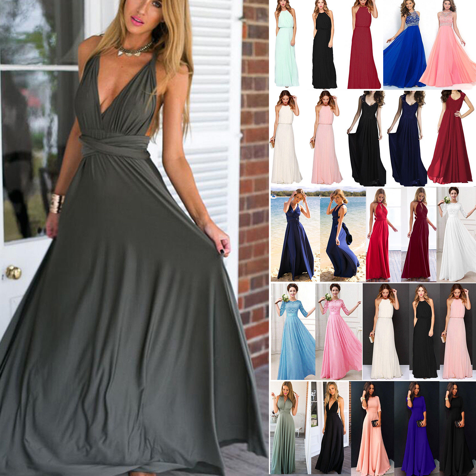 8dac3b423e0 Women Long Lace Evening Formal Cocktail Party Ball Gown Bridesmaid Maxi  Dress US