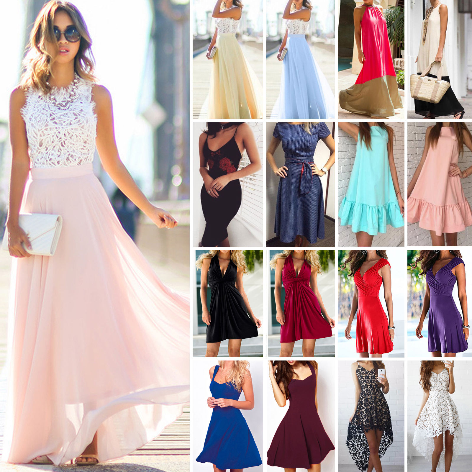 cd1fe7d8fc29 Women Long Maxi Dress Cocktail Evening Party Prom Ball Wedding Summer Beach  Boho