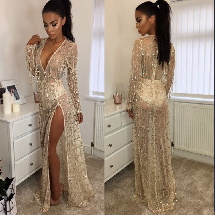 Women Sexy Fringe Sequin Long Sleeve Deep V Neck Evening Party Maxi Prom  Dress 92dc40101ae4