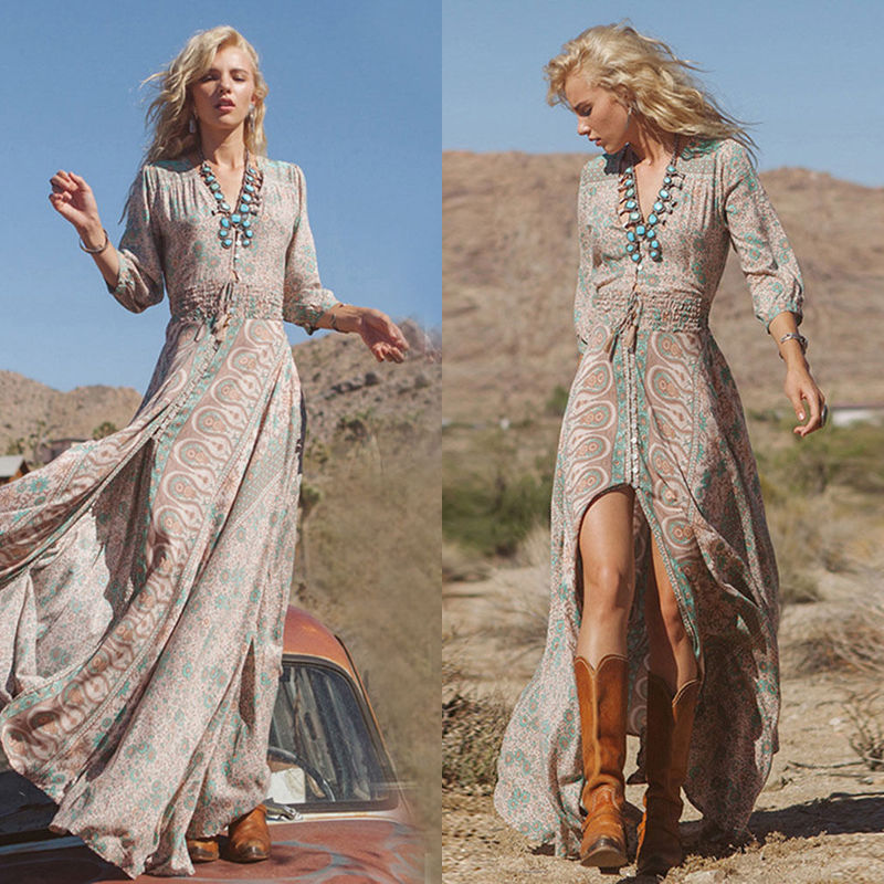 Women Summer Boho Chiffon Party Evening Beach Dresses Long Maxi Dress  Sundress I 3f3c231a4