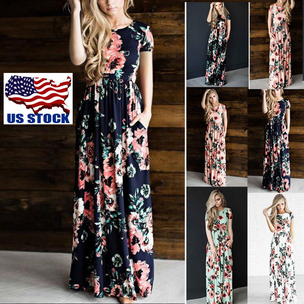 50ca9d89d77a Women Summer Short Sleeve Boho Long Maxi Dress Party Beach Dress Floral  Sundress