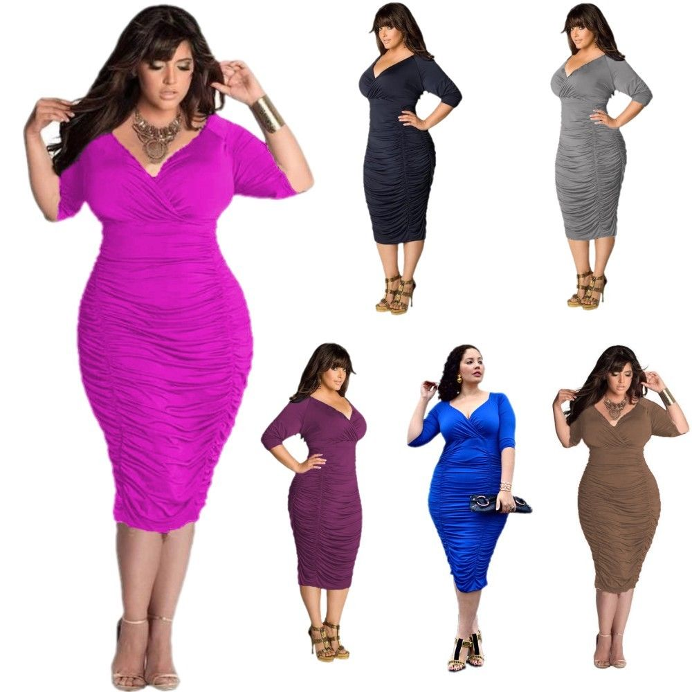 Cool Women V Neck Sexy Dresses Stretch Bodycon Bandage Party