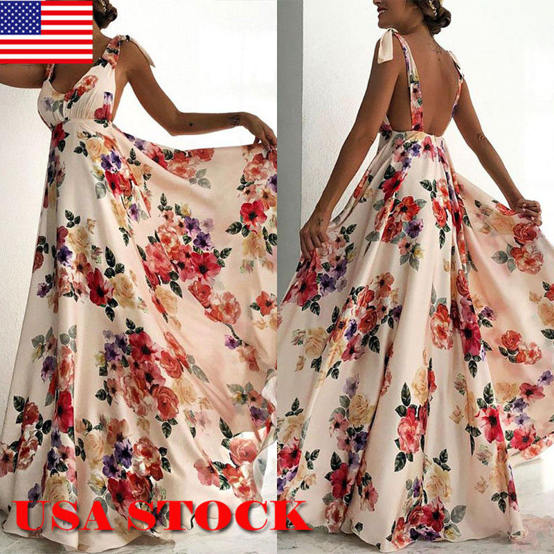 c0182638ab1c Women s BOHO Evening Party Cocktail Prom Floral Summer Beach Long Maxi Dress  HOT