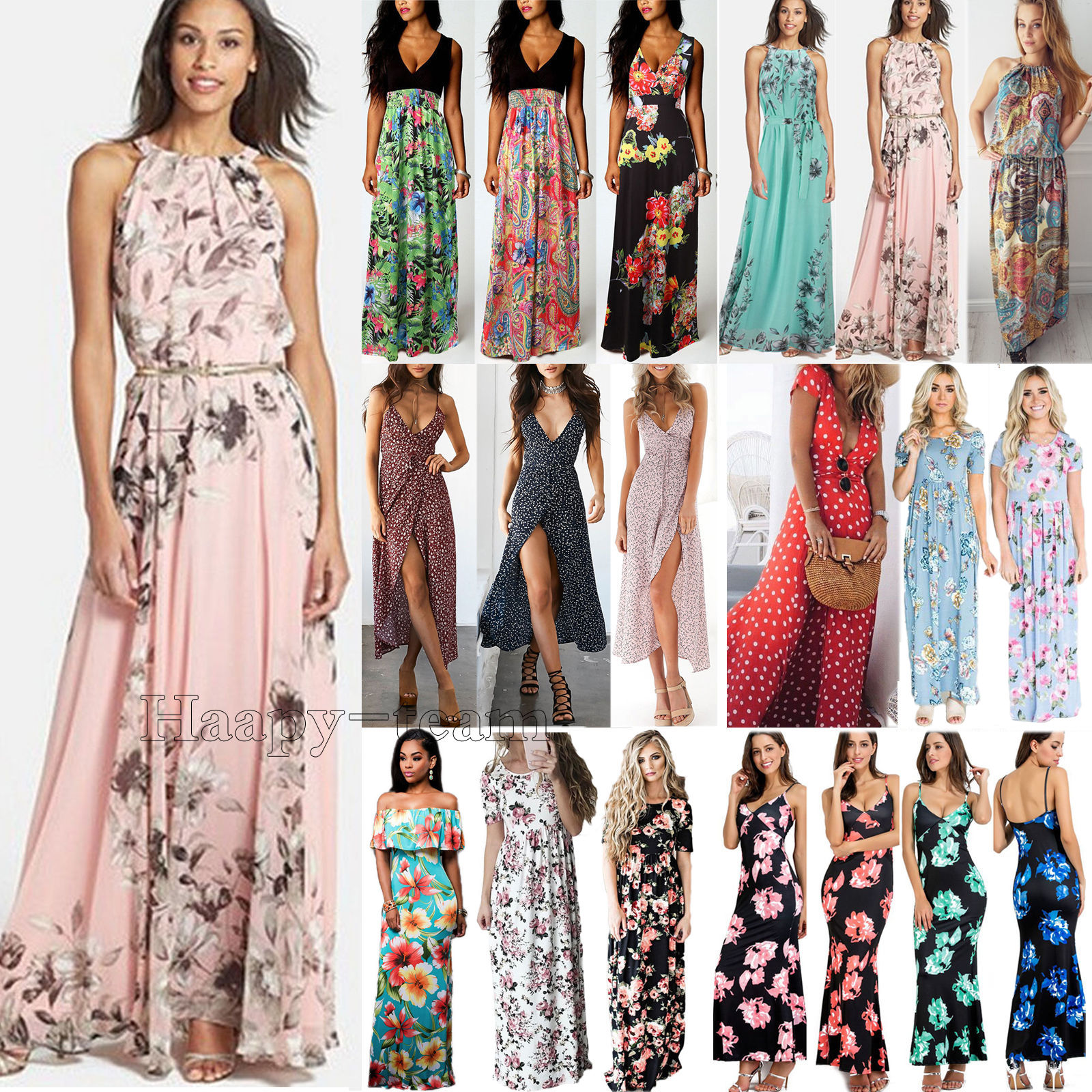 e84dce4e7955 Womens Boho Floral Long Maxi Dress Cocktail Party Evening Summer Beach  Sundress