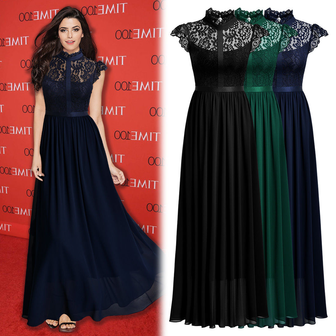 great women's elegant floral lace formal evening party