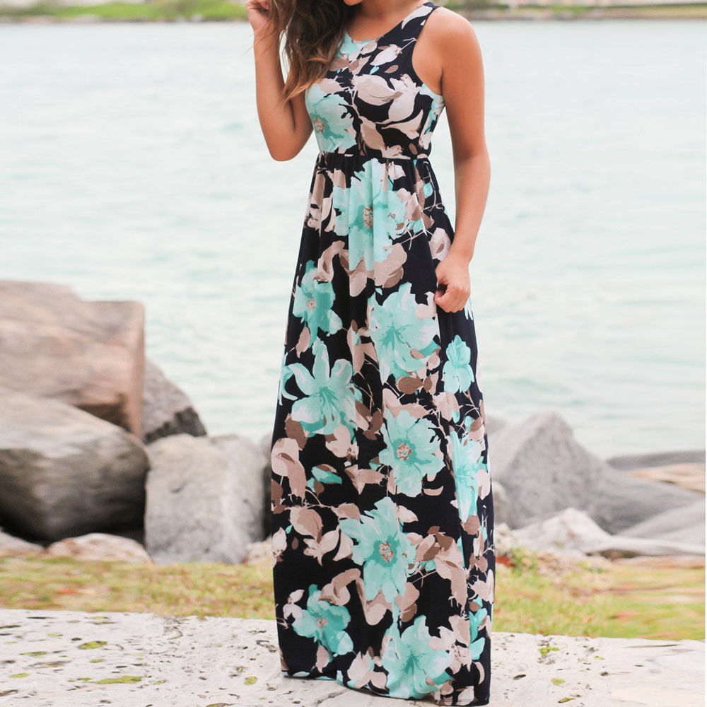 404bd624fb Womens Floral Long Maxi Dress Sleeveless Evening Party Summer Beach Sundress  US