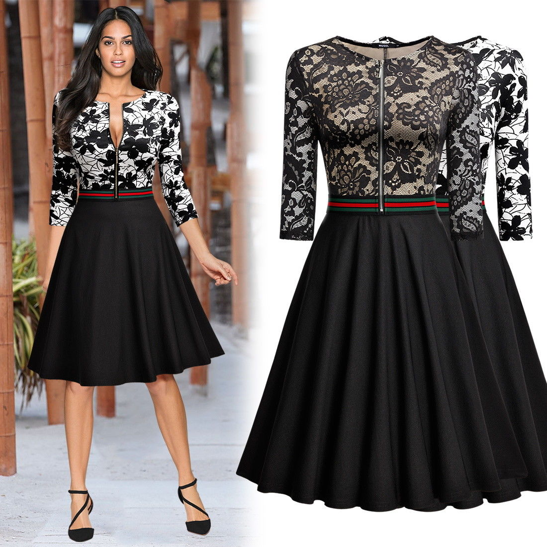 Amazing Women's Retro Style Floral Lace Evening Party ...