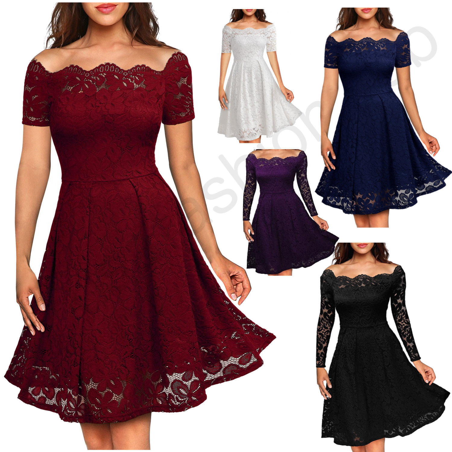 Awesome Women's Vintage Lace Boat Neck Formal Wedding