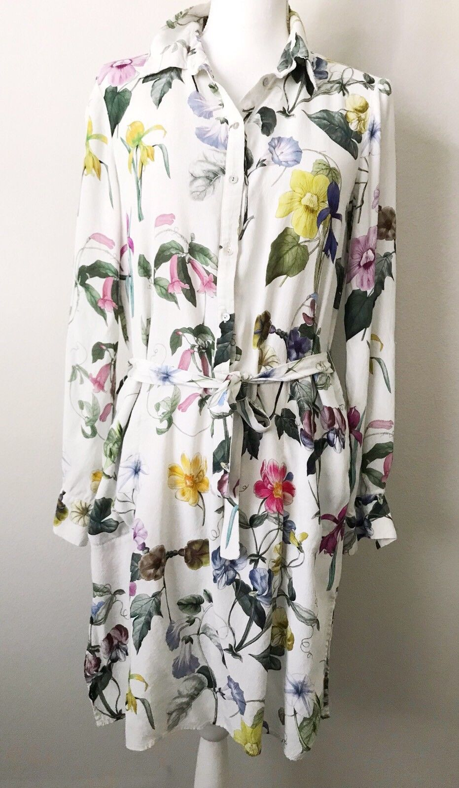 37bd7dc89 Zara Woman Floral Print Dress White Iris Leaves Womens Large Longsleeve  Viscose
