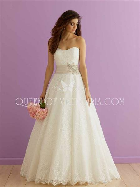 a line lace wedding dress