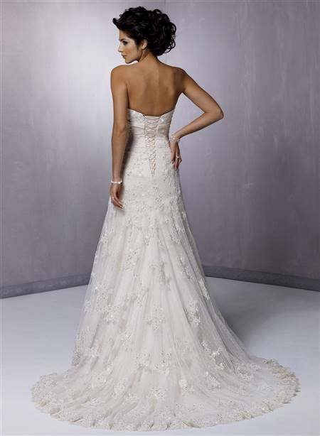 a line strapless lace wedding dress
