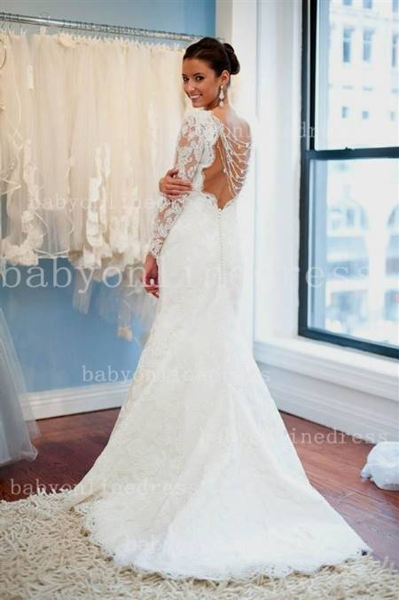 backless wedding dress with sleeves