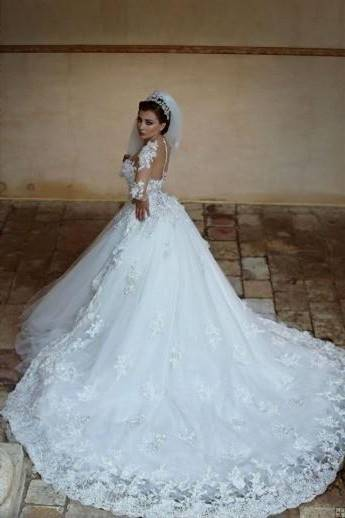 ball gown wedding dresses with lace sleeves