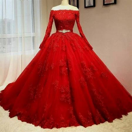 ball gowns with sleeves red