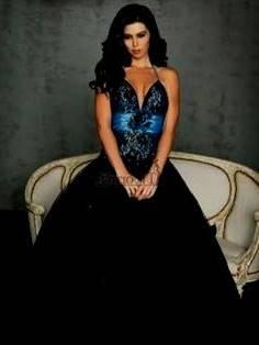 black and blue wedding dresses