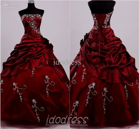 black and dark red ball gowns