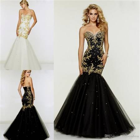 black and gold corset prom dresses