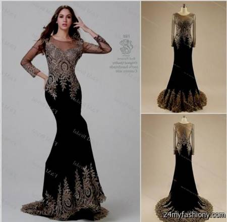 black and gold prom dresses with sleeves