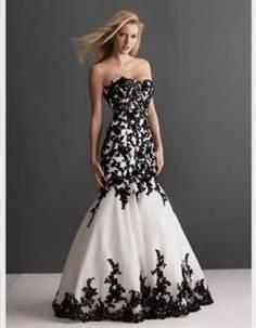 black and ivory wedding dress