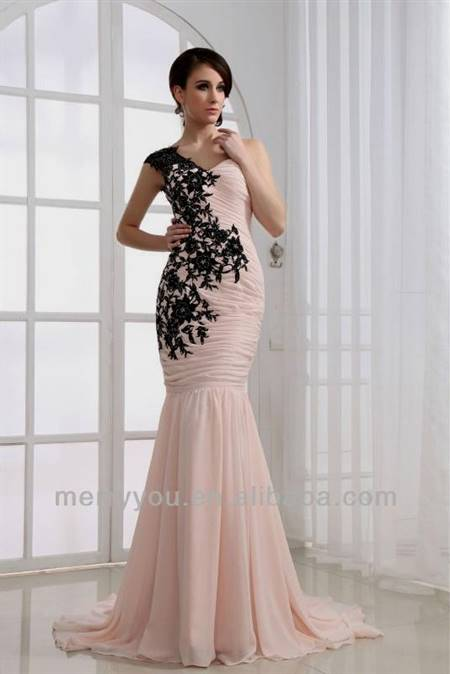 black and light pink dress