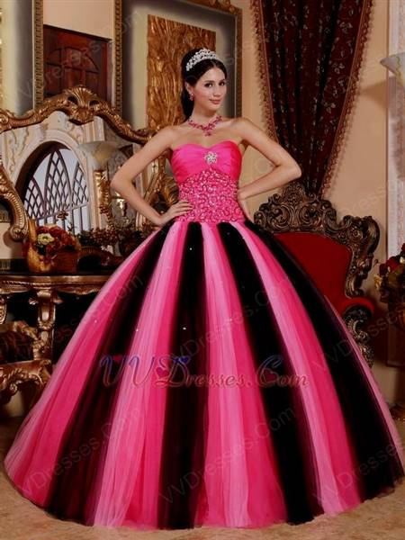 black and pink ball gown