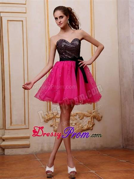 black and pink cocktail dress