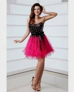 black and pink cocktail dresses for prom
