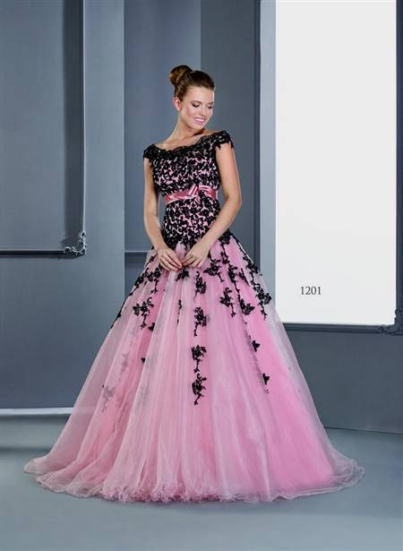 black and pink gowns with sleeves