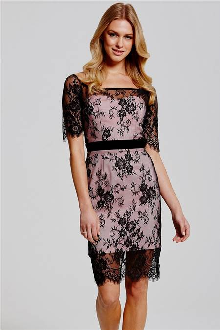 black and pink lace dress