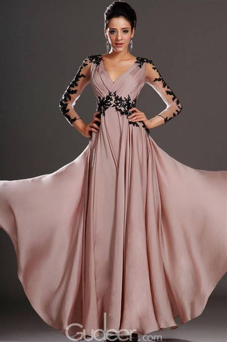 black and pink lace long dress