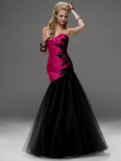 black and pink prom dresses