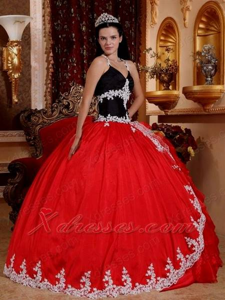 black and red ball gown dresses