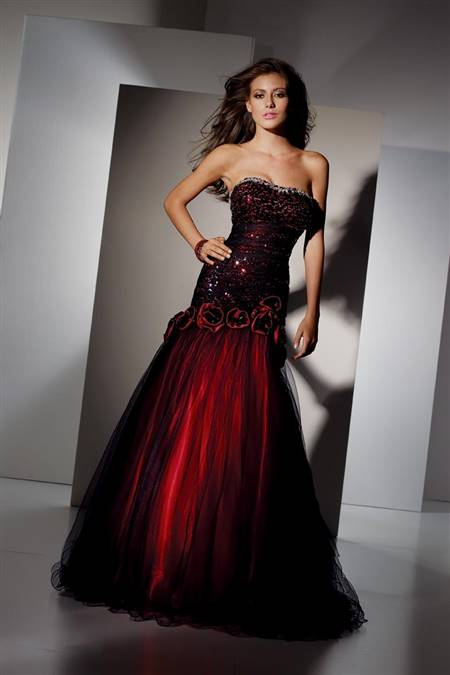 black and red ball gowns