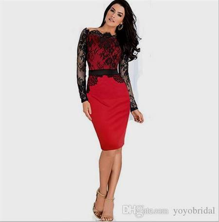 black and red cocktail dresses with sleeves