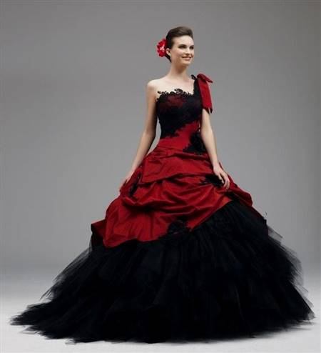 black and red lace wedding dresses