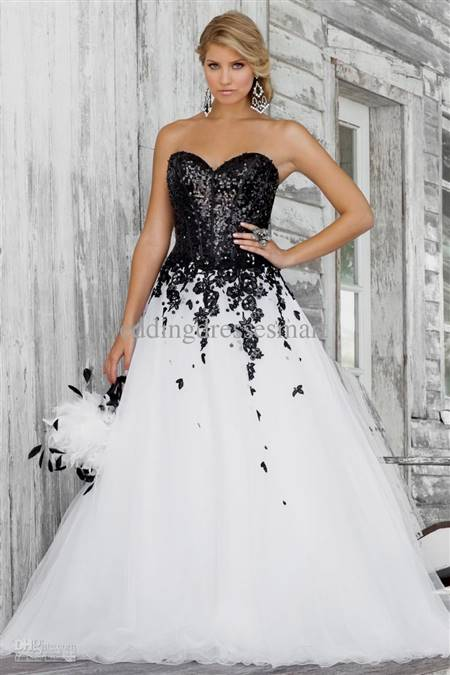 black and white ball gown wedding dresses