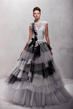 black and white ball gowns with sleeves
