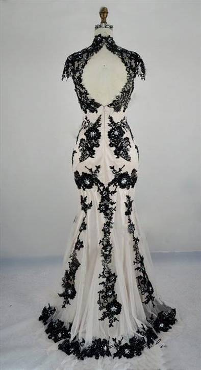 black and white gowns with laces