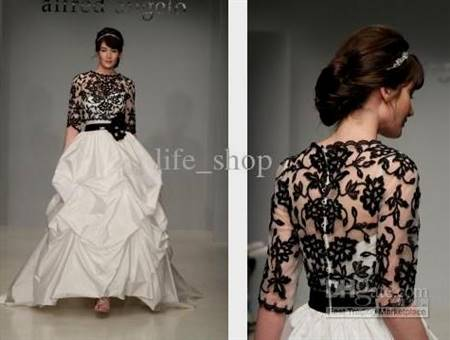 black and white gowns with sleeves