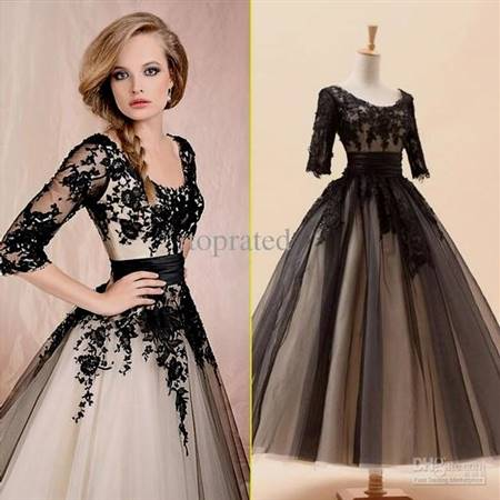 black and white gowns with sleeves for prom
