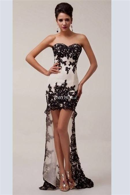 black and white high low prom dress