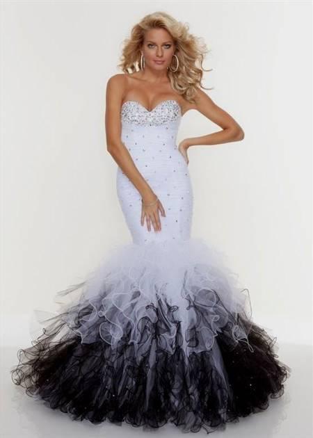 black and white mermaid prom dresses